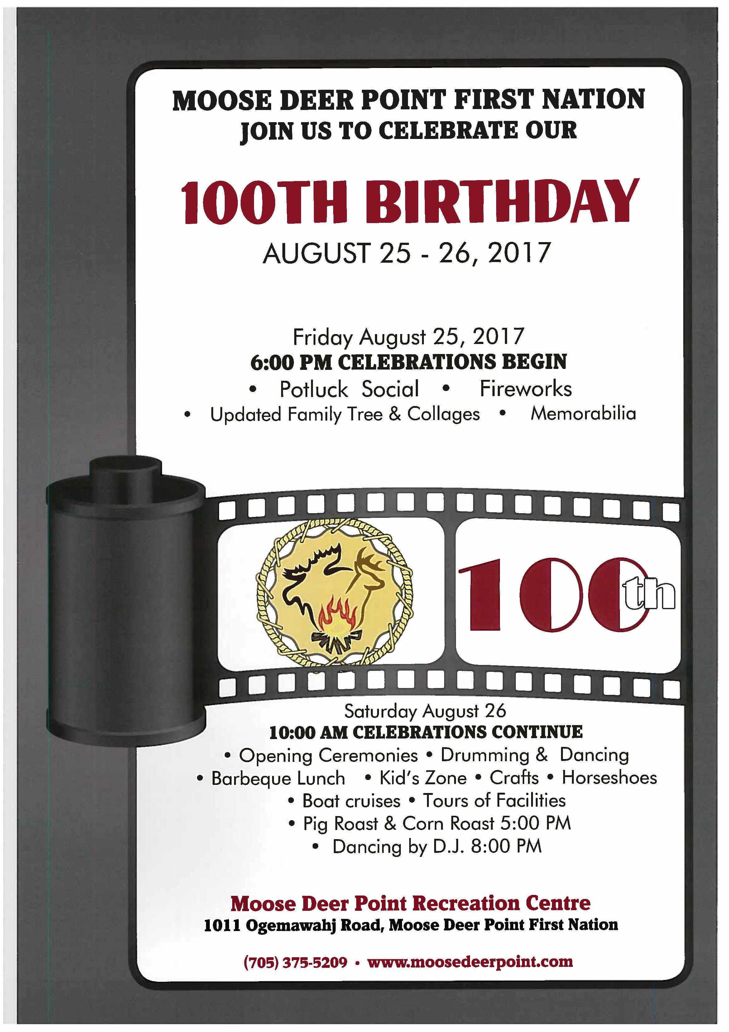 Moose Deer Point First Nation – Join us to Celebrate our 100th Birthday!